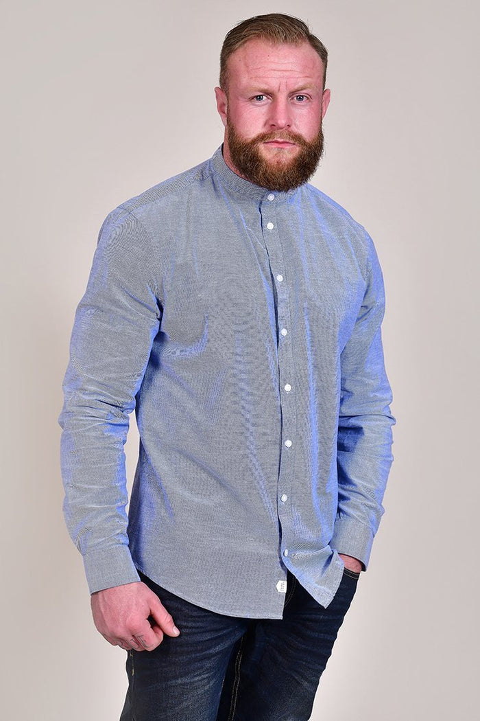 Casual Friday Cotton Sky Blue Grandad Shirt S