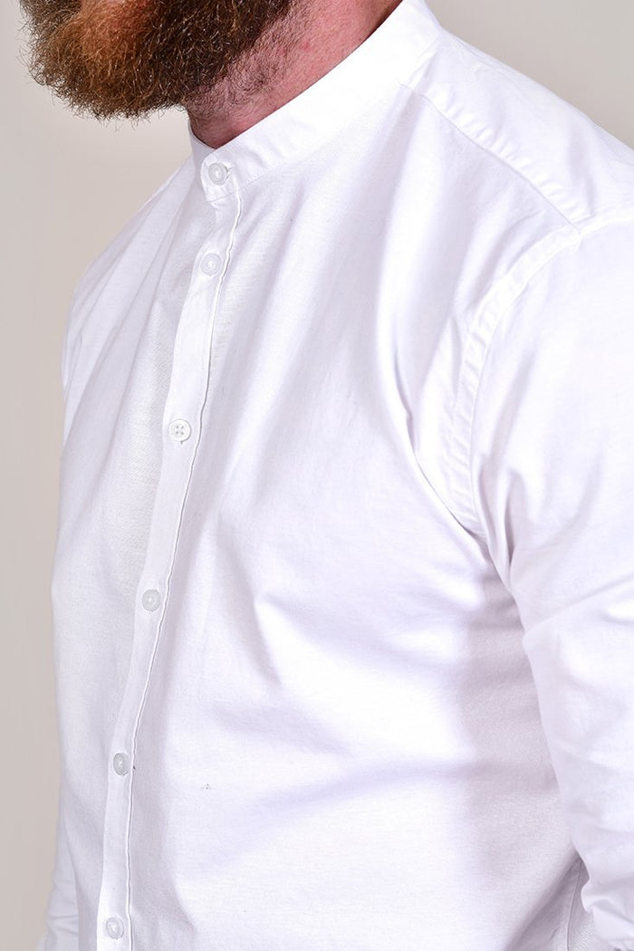 Casual Friday Cotton White Grandad Shirt