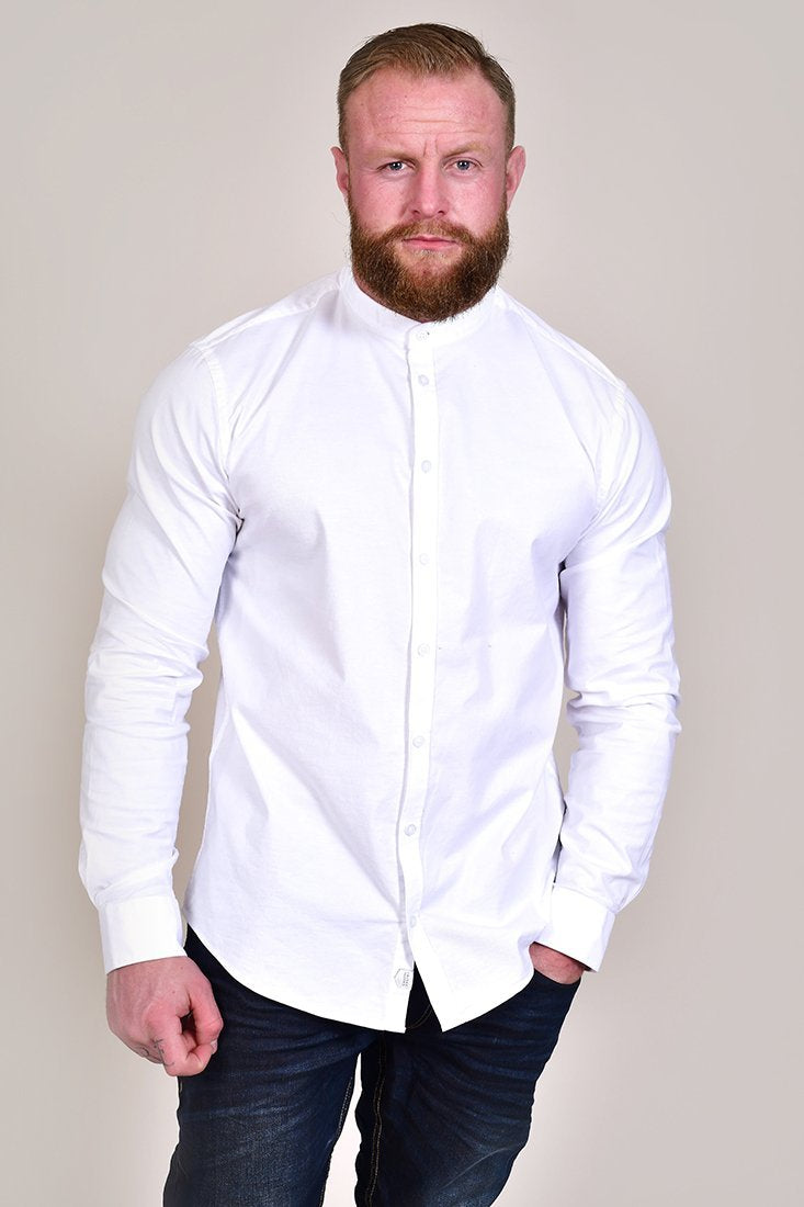 Casual Friday Cotton White Grandad Shirt S