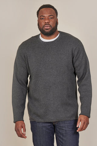 Casual Friday Crewneck Cotton Jumper In Charcoal