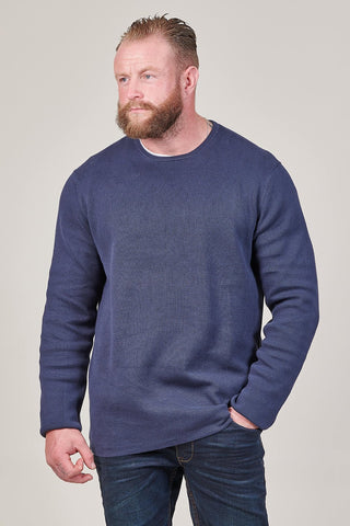Casual Friday Crewneck Cotton Jumper In Navy