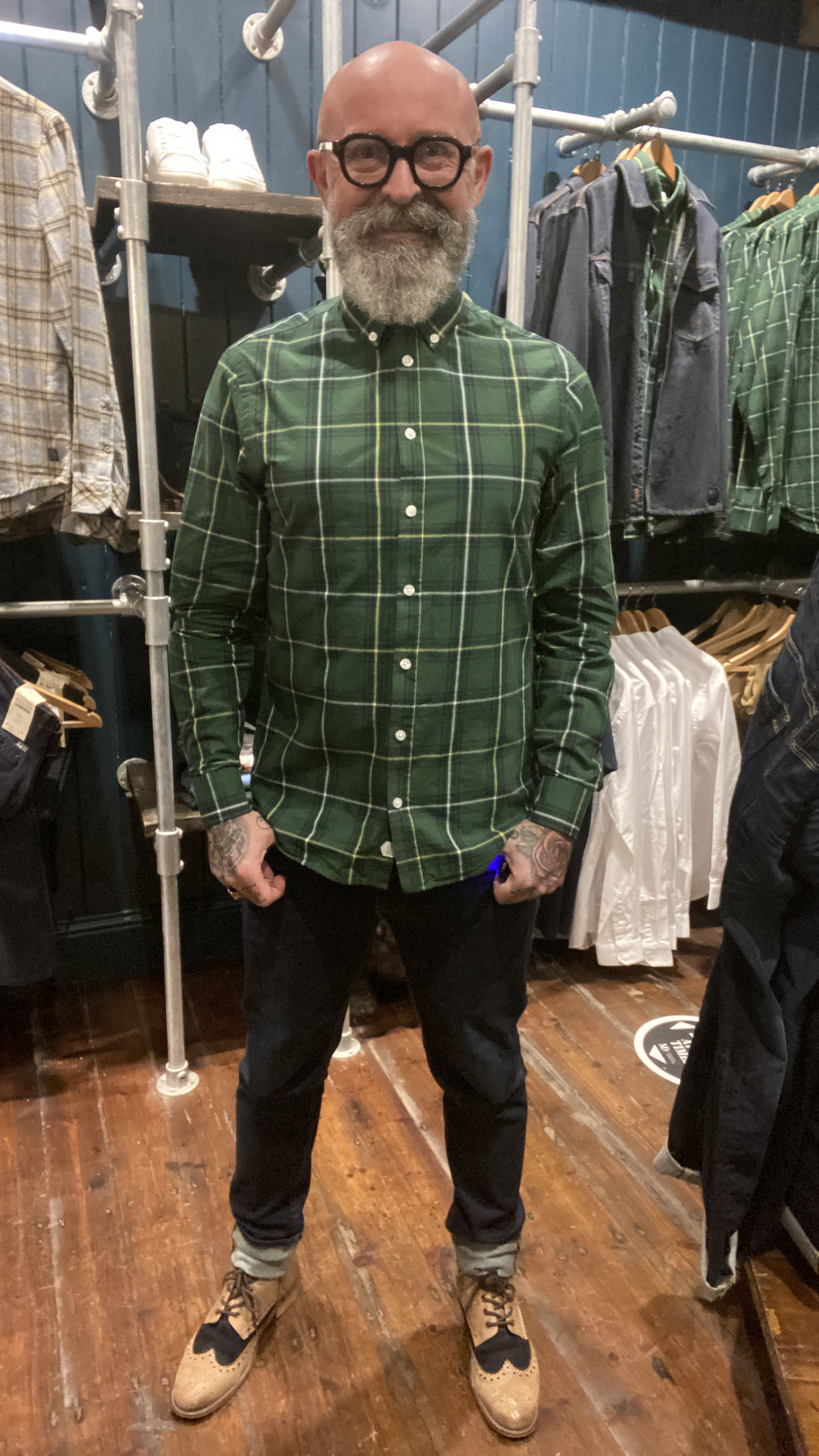 Casual Friday Green & Yellow Check Cotton Shirt S