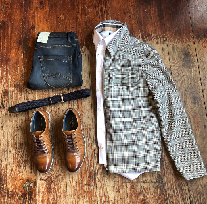 Casual Friday Grey Check Jacket Down Time Look casual-friday-grey-check-jacket / barbour-headshaw-white-cotton-shirt / blend-rock-dark-wash-regular-fit-jeans
