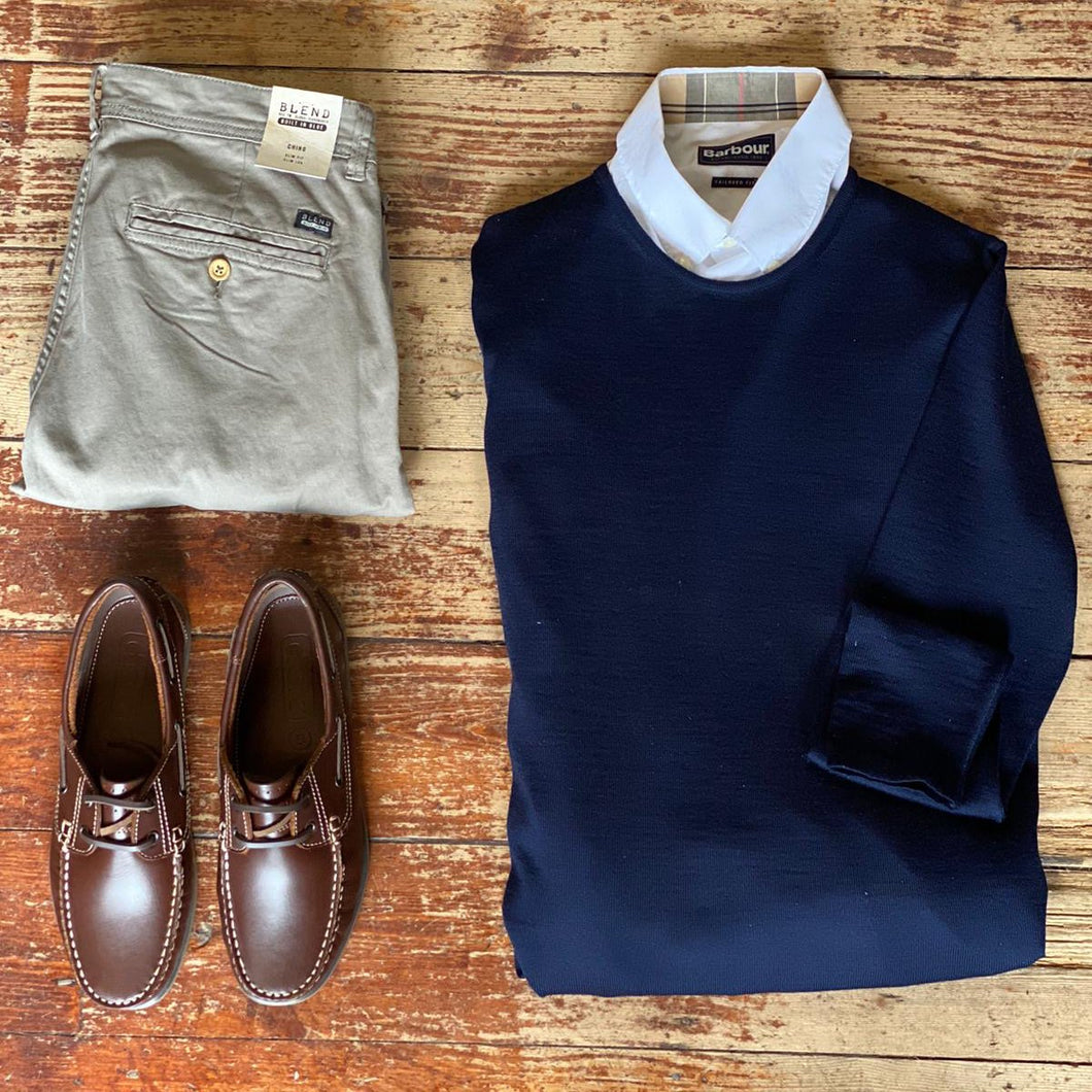 Casual Friday Knit & Granite Chino casual-friday-navy-crew-neck-wool-jumper / barbour-headshaw-white-cotton-shirt / blend-granite-chinos