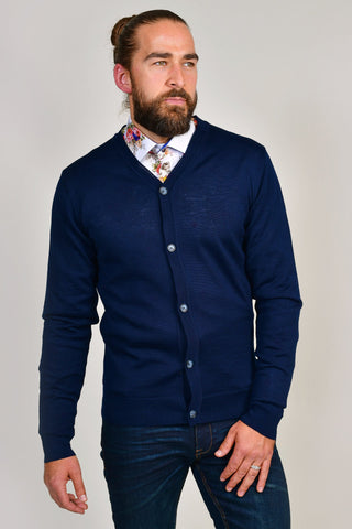 Casual Friday Kurt Navy Merino Wool Cardigan