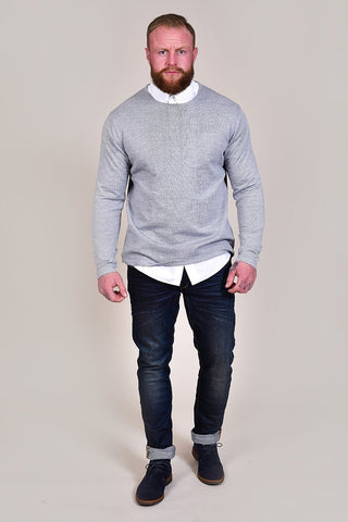 Casual Friday Light Grey Crew Neck Wool Jumper S