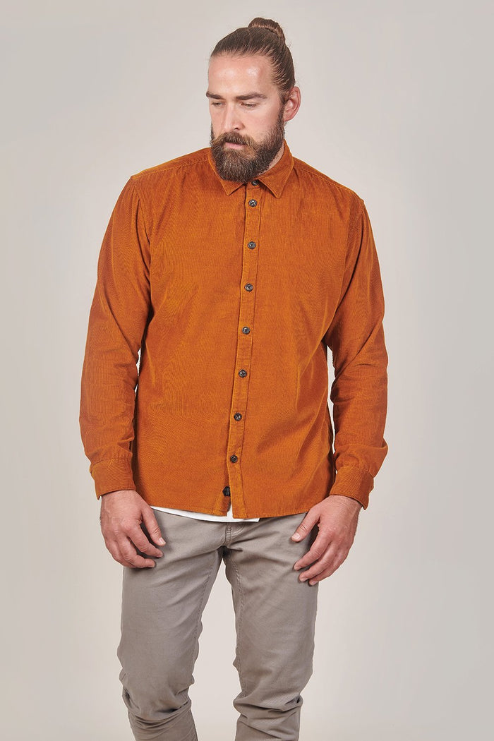 Casual Friday Micro Cord Rust Shirt