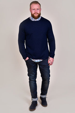 Casual Friday Navy Crew Neck Wool Jumper S