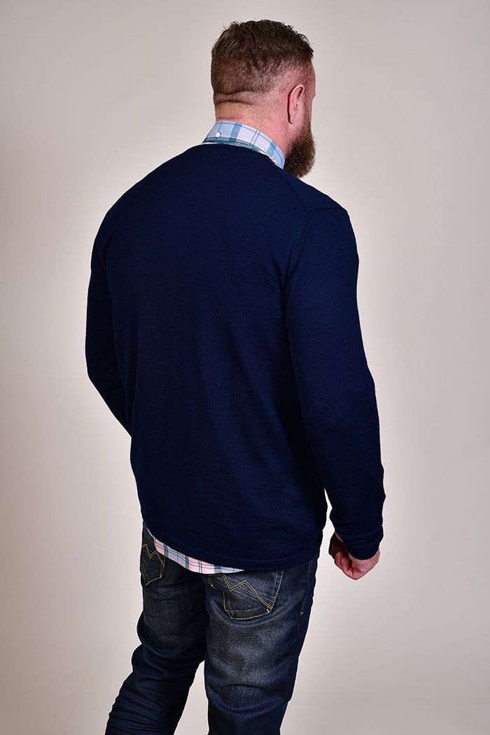 Casual Friday Navy Crew Neck Wool Jumper