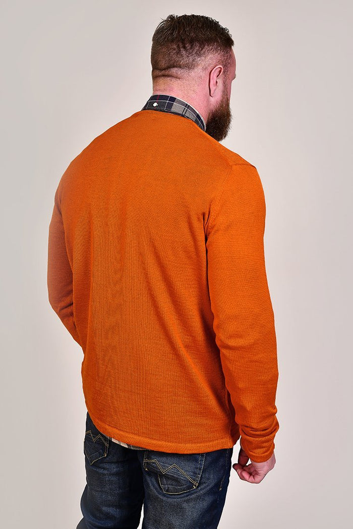 Casual Friday Rust Crew Neck Wool Jumper