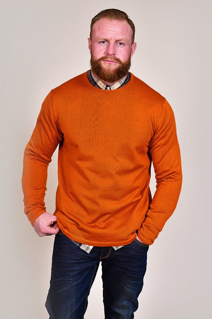 Casual Friday Rust Crew Neck Wool Jumper S