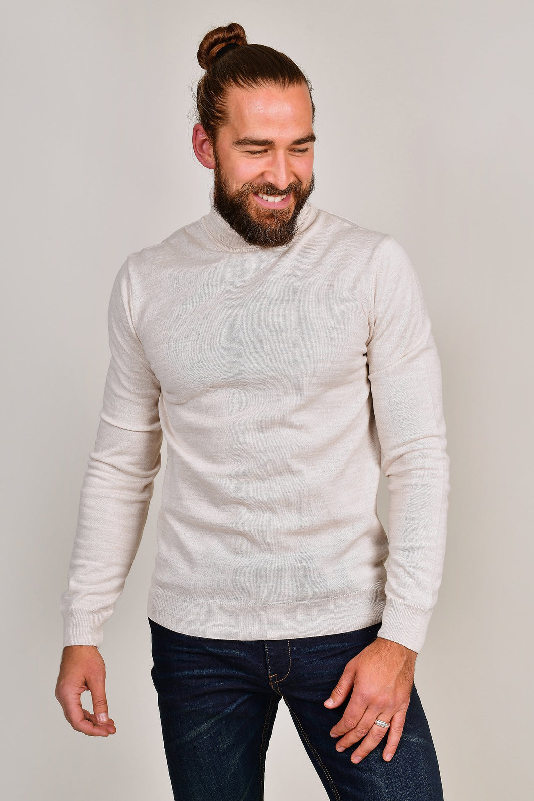 Casual Friday Sand Wool Roll Neck
