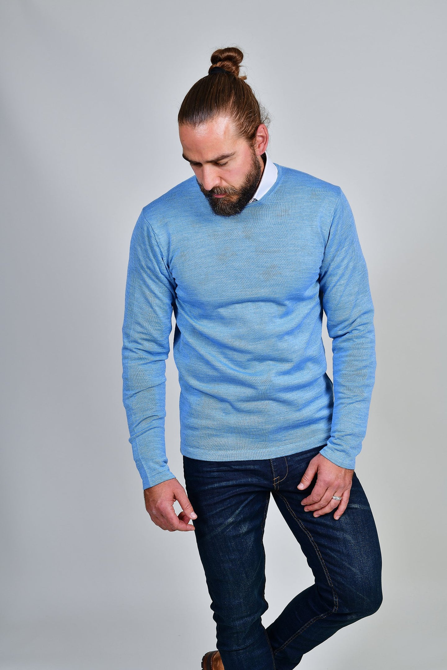 Casual Friday Sky Blue Crew Neck Wool Jumper