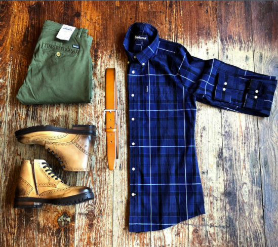 Casual Work Outfit blend-olive-chinos / barbour-sandwood-inky-blue-cotton-check-shirt / monti-plain-tan-belt