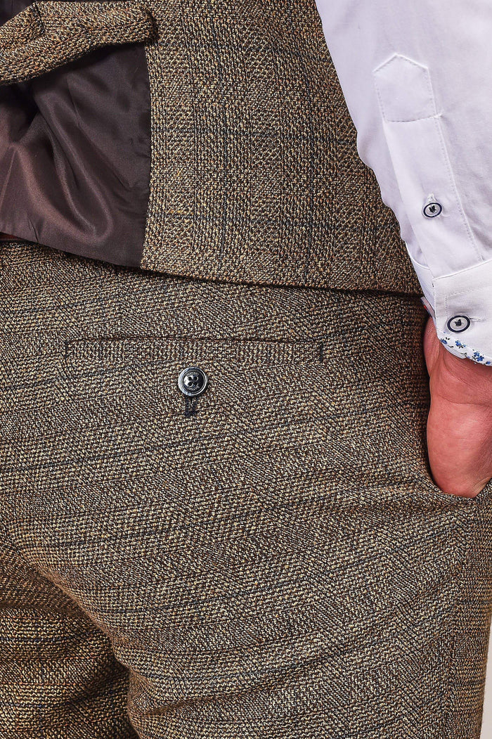 Cavani Ascari Tan Check Tweed Style Trousers