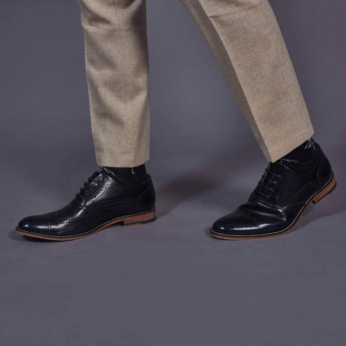 Cavani Black Oxford Brogue Shoes