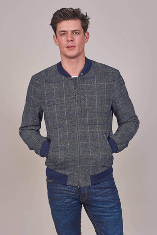 Cavani Blue/Navy Check Bomber Jacket 36R