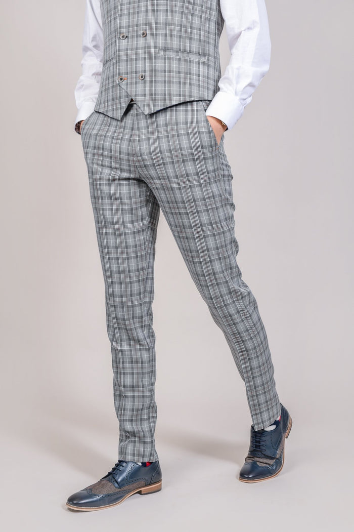 Cavani Callie Grey Checked Trousers 28R
