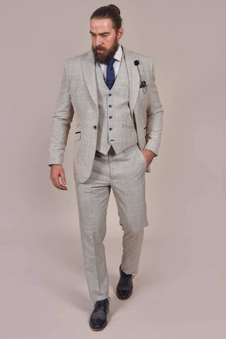 Cavani Cavani Caridi Beige Check Tweed Style Trousers £40.00