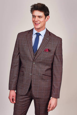 Cavani Carly Wine Check Tweed Style Blazer