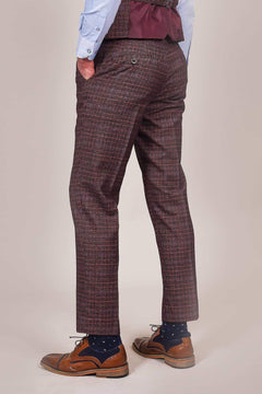 Cavani Cavani Carly Wine Check Tweed Style Trousers £27.99