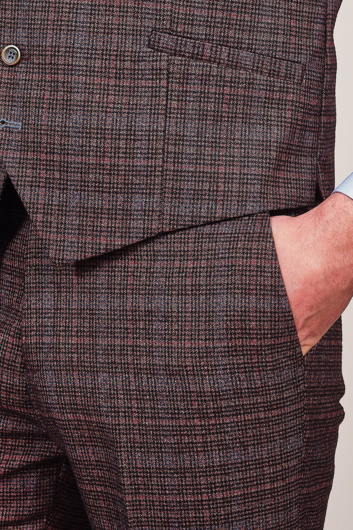 Cavani Carly Wine Tweed Style Suit cavani-carly-wine-check-tweed-style-blazer / cavani-carly-wine-check-single-breasted-tweed-style-waistcoat / cavani-carly-wine-check-tweed-style-trousers