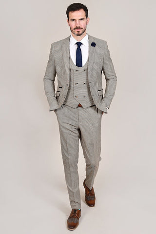 Cavani Elwood Brown Houndstooth 3 Piece Suit cavani-elwood-brown-houndstooth-blazer / cavani-elwood-brown-houndstooth-waistcoat / cavani-elwood-brown-houndstooth-trousers