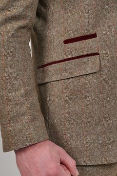 Cavani Cavani Gaston Sage Check Tweed Style Blazer £95.00