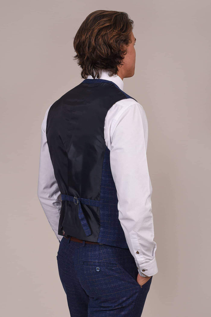 Cavani Kaiser Blue Check Single Breasted Tweed Style Waistcoat
