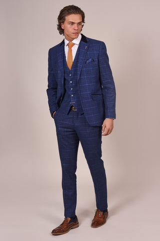 Cavani Kaiser Blue Check Tweed Style Suit cavani-kaiser-blue-check-tweed-style-blazer / cavani-kaiser-blue-check-single-breasted-tweed-style-waistcoat / kaiser-blue-check-tweed-style-trousers