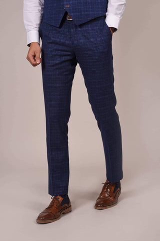 Cavani Cavani Kaiser Blue Check Tweed Style Trousers £40.00