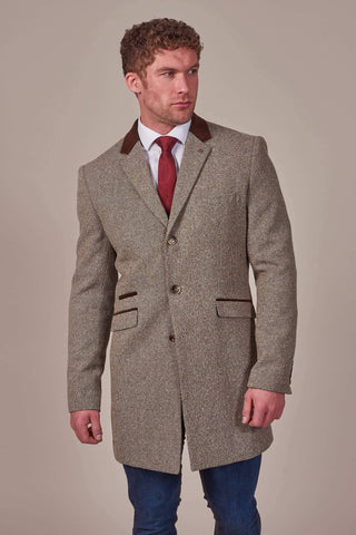 Cavani Lauren Tan Tweed Overcoat