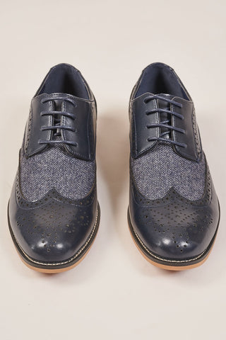 Cavani Navy Tweed Brogue Shoes