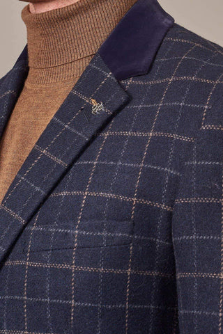 Cavani Shelby Navy Tweed Check Overcoat