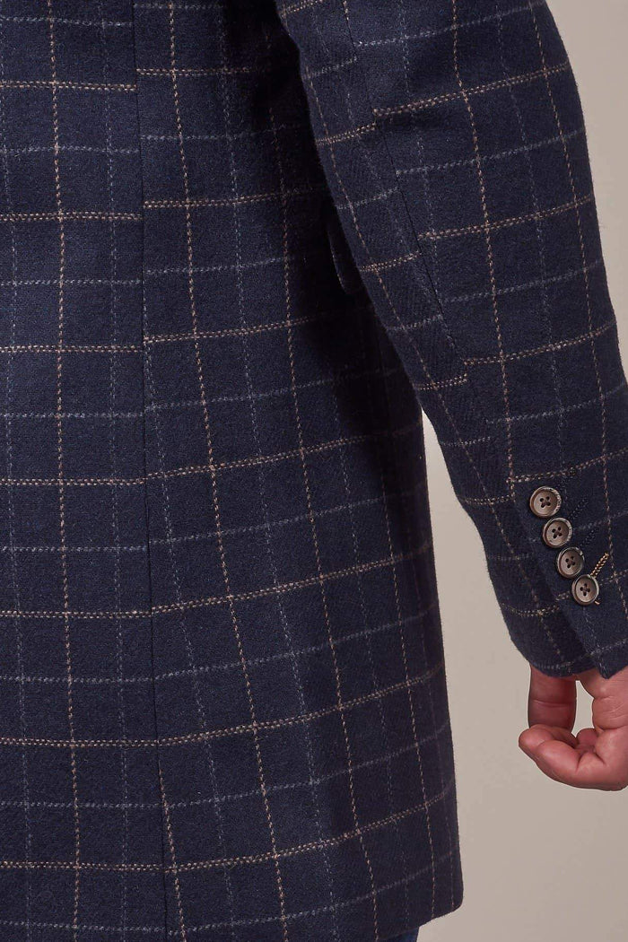 Cavani Cavani Shelby Navy Tweed Check Overcoat £60.00