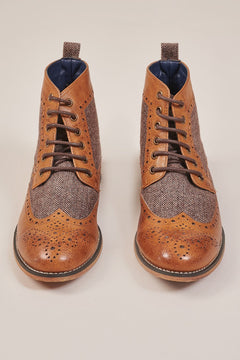 Cavani Cavani Tan Tweed Brogue Boots £49.99