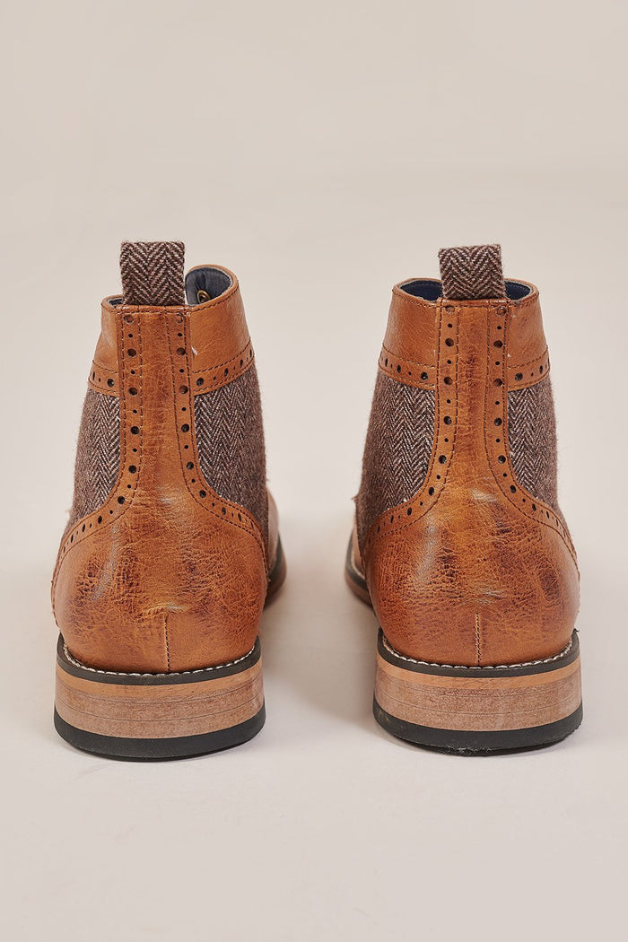 Cavani Tan Tweed Brogue Boots
