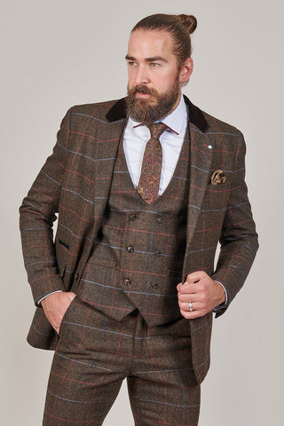 Cavani Cavani Tommy Brown Check Tweed Style Blazer £80.00