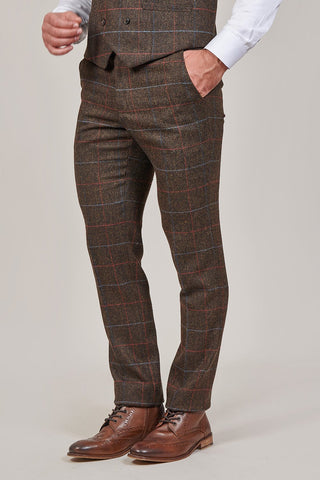 Cavani Tommy Brown Check Tweed Style Trousers