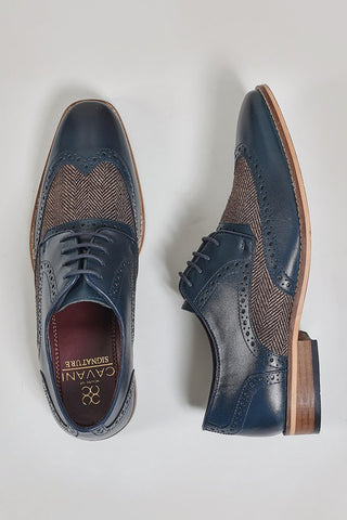 Cavani William Navy Tweed Brogues
