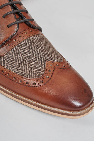 Cavani William Tan Tweed Brogues