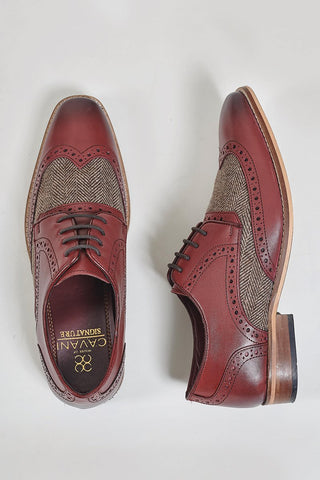 Cavani Cavani William Wine Tweed Brogues £59.99