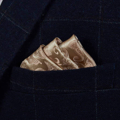Champagne Floral Silk Pocket Square