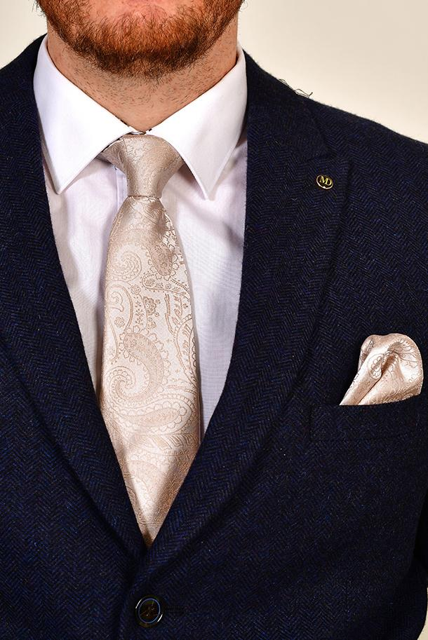 Champagne Paisley Tie & Pocket Square Set Champagne