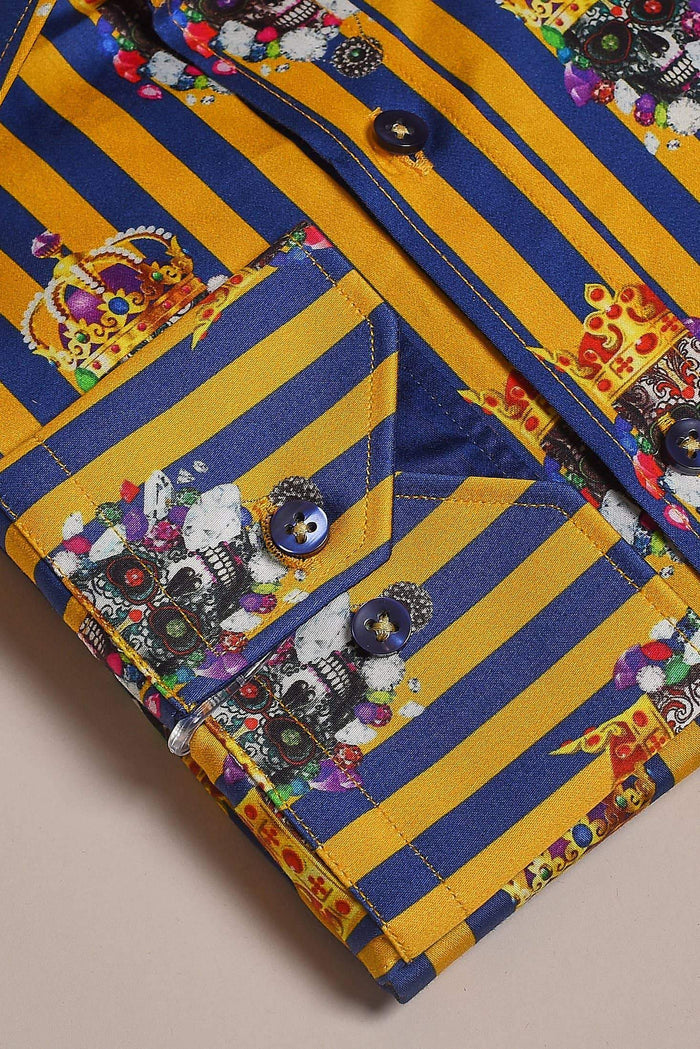 Claudio Lugli Gold And Navy Stripe Shirt With Crowned Skulls