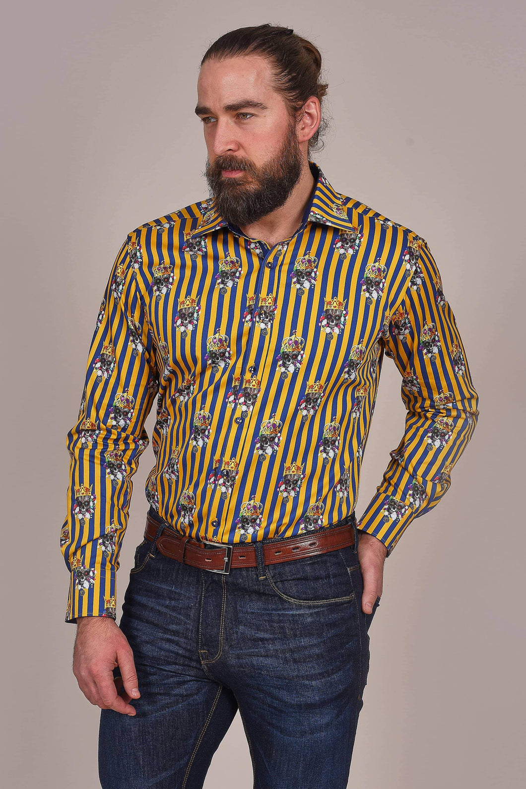 Claudio Lugli Gold And Navy Stripe Shirt With Crowned Skulls S / Multi