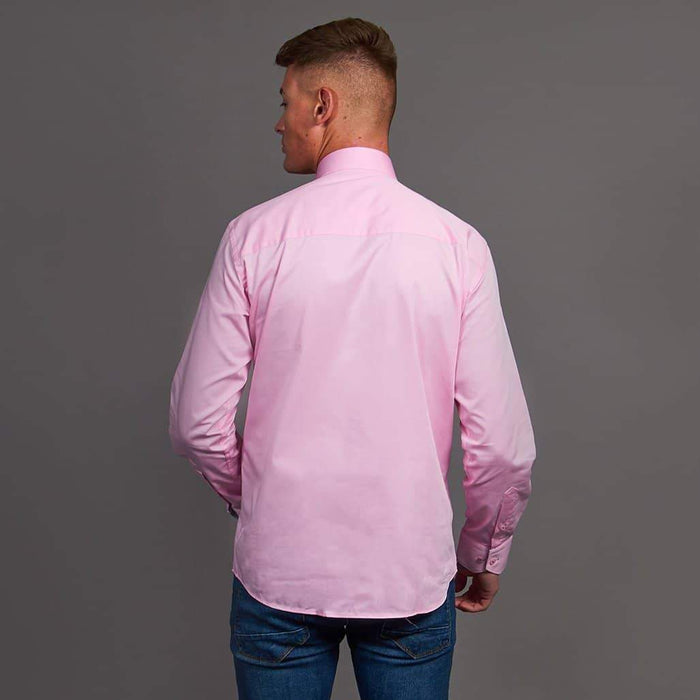 Claudio Lugli Pink Shirt With Flower Flash Placket