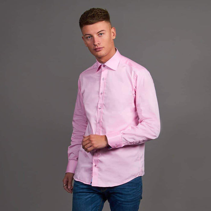 Claudio Lugli Pink Shirt With Flower Flash Placket S / Pink
