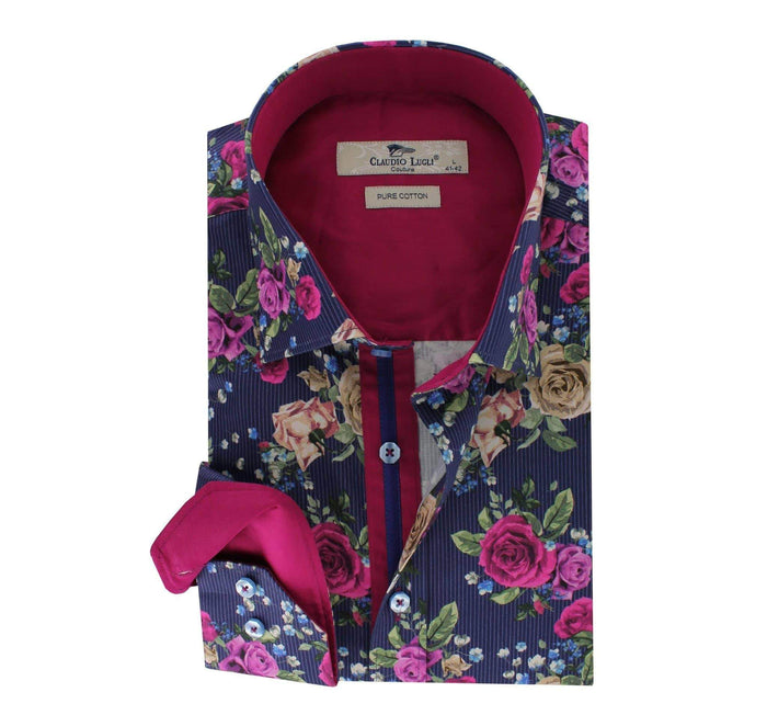 Claudio Lugli Shirt with floral print - CP6085 Navy