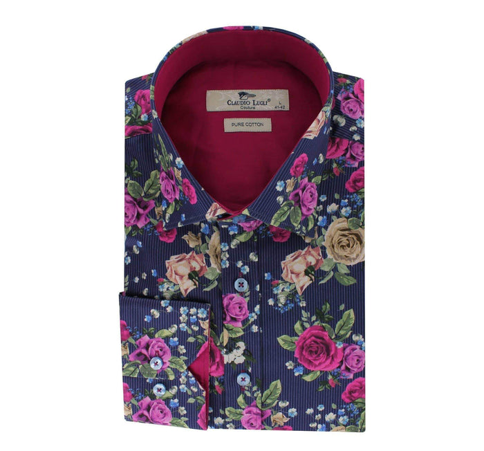 Claudio Lugli Shirt with floral print - CP6085 Navy S